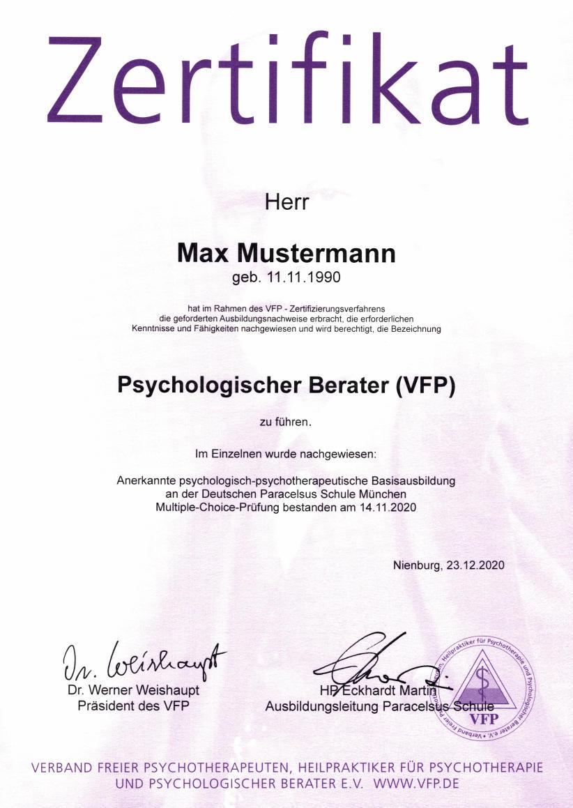 Zertifizierung - Verband Freier Psychotherapeuten, Heilpraktiker für ...
